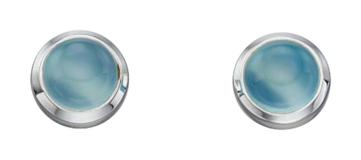 Elements Silver Agate Cabochon Stud Earrings - Silver/Blue/Clear