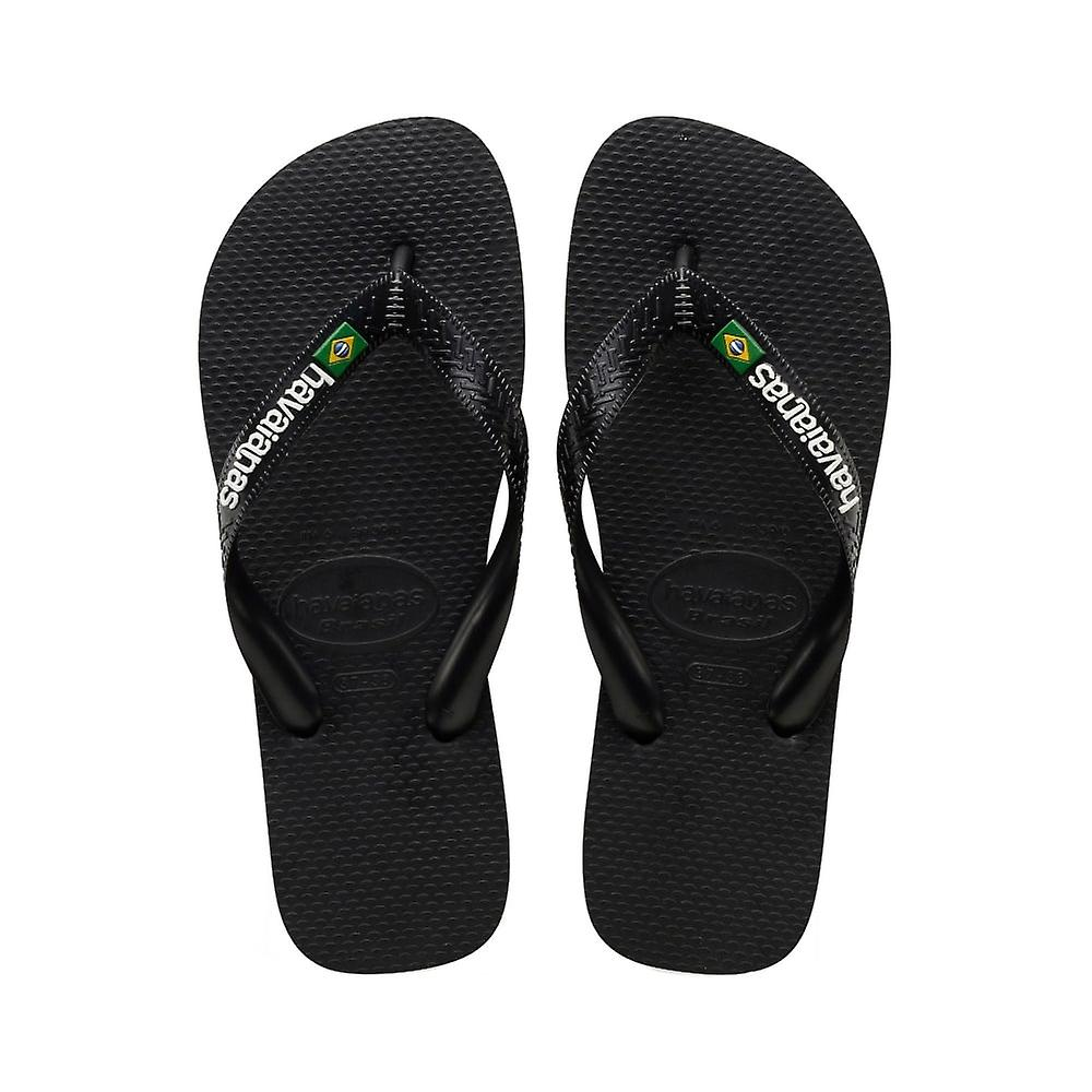 Havaianas Brasil Logo - Black/Black (Man-Made) Mens Sandals