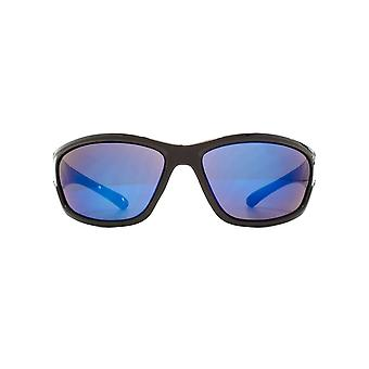 Freedom Polarised Peiros Large Wrap Sunglasses In Shiny Black Polarised
