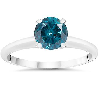 1ct Treated Blue Diamond Solitaire Engagement Ring 14K White Gold