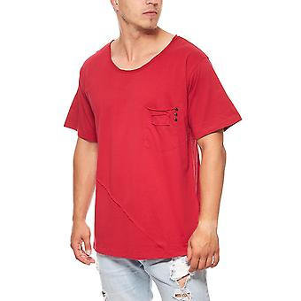 JUNK YARD men's oversize T-Shirt red with chest pocket