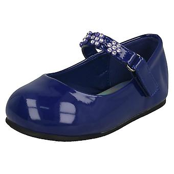 Girls Spot On Diamante Flower Strap Ballerinas H2487 - Navy Synthetic Patent - UK Size 5 - EU Size 22 - US Size 6