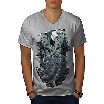 Midnight Demon Horror Men GreyV-Neck T-shirt | Wellcoda