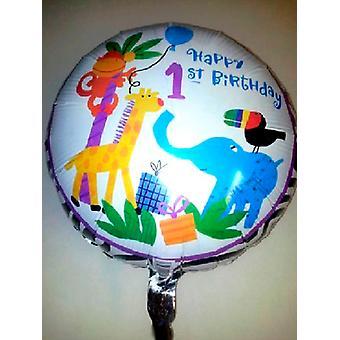 إحباط بالون 'عيد ميلاد سعيد الأولى' الحيوانات الغابة