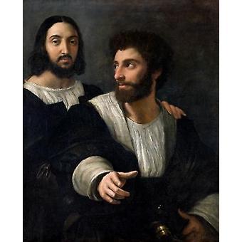 Autoportrait avec un ami (huile sur toile) .. - Reproduction d'art