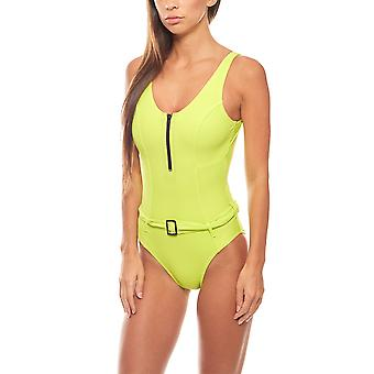 Shaping swimsuit with belt large bust size D Cup Kiwi green heine
