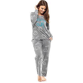 Damen lange Winter Polycotton Alarm/Tasse gedruckt Pyjama Pyjama-Nachtwäsche-Set