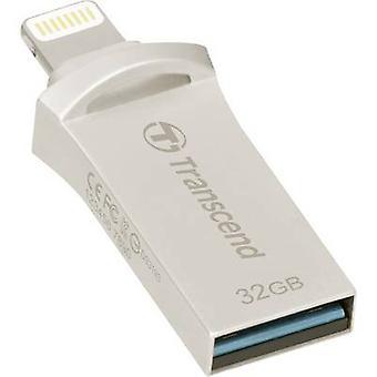 USB smartphone/tablet memoria extra JetDrive Transcend™ ir 500 plata 32 GB USB3.1, relámpago