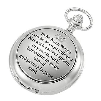 Woodford Born to be Welsh Skeleton Chain Pocket Watch - Silver