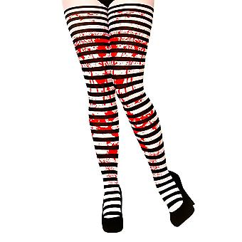 Adult Candystripe Black & White Tights with Splattered Blood Fancy Dress Accessory