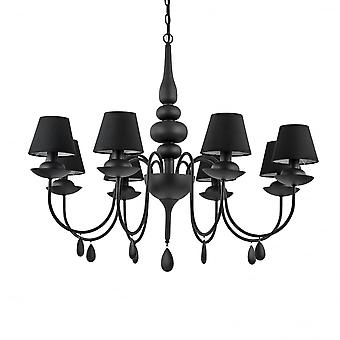 Ideal Lux Blanche 8 Light Black Chandelier With Mini Shades