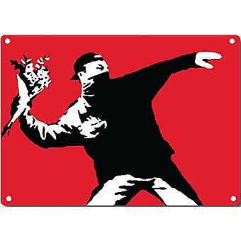 Banksy Rioter Throwing Flowers Metal Sign 200Mm X 140Mm