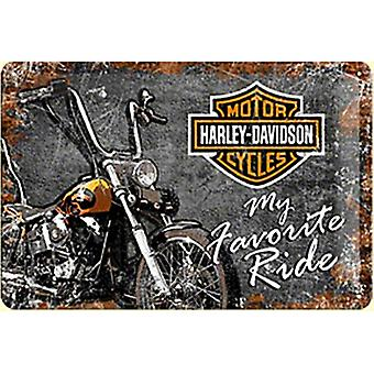 Harley Davidson My Favourite Ride Embossed Steel Sign 200Mm X 300Mm