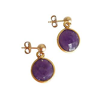 Gemshine - damas - Pendientes - plata 925 - oro plateado - caramelo - púrpura - amatista - 2 cm