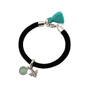 Damen - Armband - 925 Silber - Edelstein - Aqua Chalcedon - BEE - Biene - Grün - Schwarz