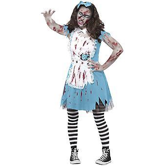 Vrouwen kostuums Halloween zombie Alice jurk met theekopje