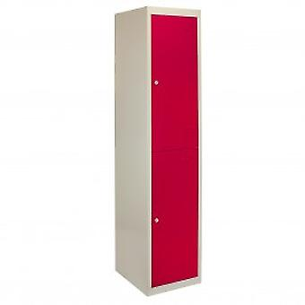 Metal Storage Lockers - Two Doors, Flatpacked, Red