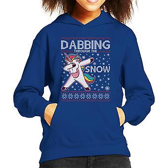 雪を Dabbing ユニコーンクリスマスニットパターンキッドのフード付きスウェットシャツ