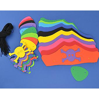 100 Mixed Colour Card Pirate Hats & Patches Kit for Kids Group Crafts
