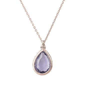 Latelita Small Mini Gemstone Pendant Necklace Rose Gold Purple Amethyst Teardrop
