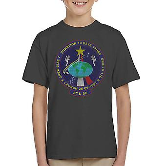 NASA STS 86 Atlantis Mission Badge Distressed Kid's T-Shirt