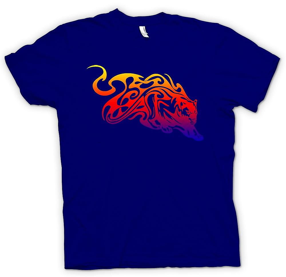 Mens T-shirt - Tribal Tiger With Flames Design