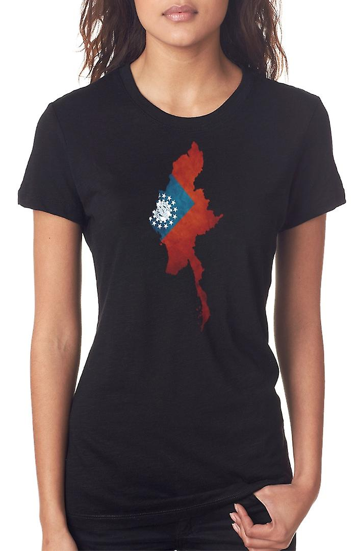 Myanmar Burma Burmese Flag Map Ladies T Shirt