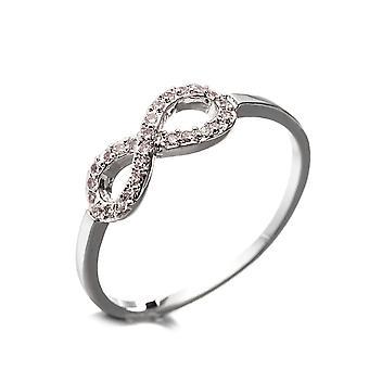 Infinite plate Rhodium and Cubic Zirconia white ring