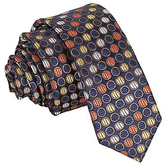 Gold, Silver & Orange Chequered Polka Dot Skinny Tie