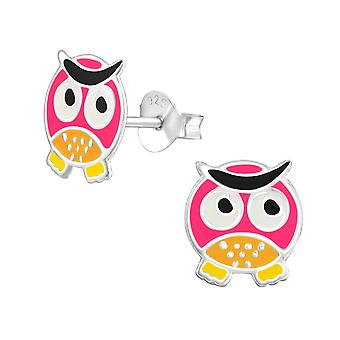Owl - 925 Sterling Silver Colourful Ear Studs - W11746X