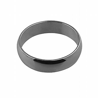 9ct White Gold plain D shaped Wedding Ring 6mm wide in Size Q