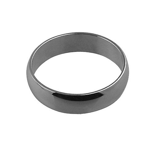 9ct White Gold plain D shaped Wedding Ring 6mm wide in Size Z
