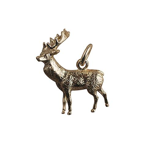 9ct Gold 23x25mm solid Stag charm