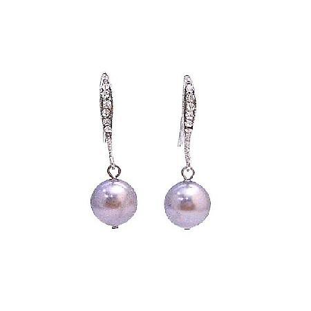 Mauve Swarovski Pearl Tiny Cubic Zircon Encrusted Diamante Earrings