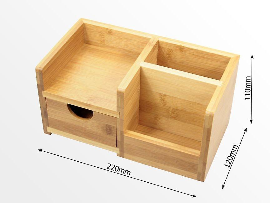 Desk Tidy woodquail bamboo desk organiser, pen holder and drawer desk tidy