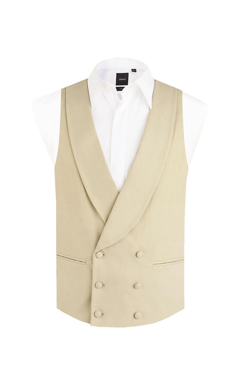 Dobell Boys Gold/Buff Morning Wedding Suit Waistcoat Regular Fit Shawl Lapel Double Breasted