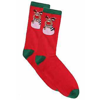 D555 Red & Green Reindeer Print Christmas Socks