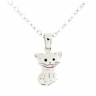 Jo For Girls Sterling Silver 'Cat with Attitude' Pink Enamel Pendant