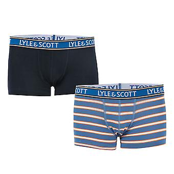 Boys Lyle And Scott Solid & Stripe 2 Pack Boxer Shorts In Navy- 1 Pair Navy, 1