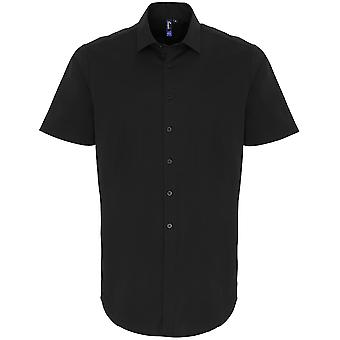 Premier Mens Stretch Fit Cotton Poplin Short Sleeve Shirt