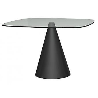 Gillmore Space Large Square Clear Glass Dining Table With Conical Black Base