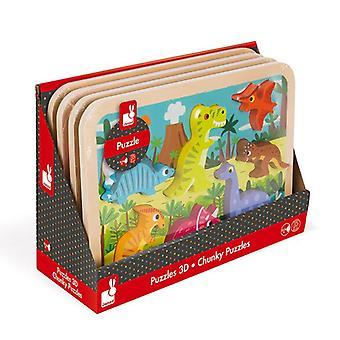 Janod dinosaurussen Chunky houten puzzel