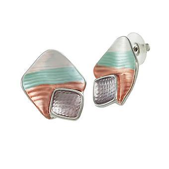 Eternal Collection Cavalcade Green Multi Enamel Silver Tone Stud Pierced Earrings