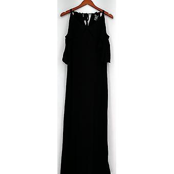 Kate et Mallory Robe sans manches Maxi Cold Shoulder Ruffle Black A433363