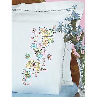 Stamped Pillowcases With White Lace Edge 2 Pkg Fluttering Butterflies 1800 143