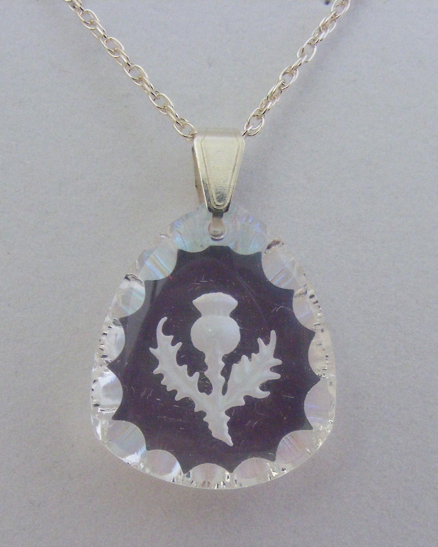 Aurora Borealis Triangular Thistle Crystal Pendant