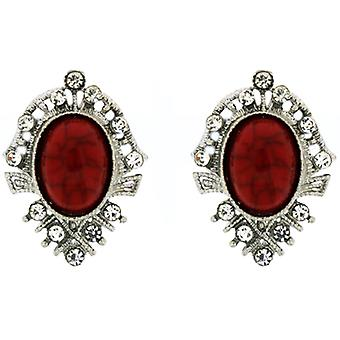 Clip On Earrings Store Victorian Red Stone & Crystal Clip On Earrings