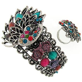 Silver and Multicoloured Filigree Peacock Bracelet and Ring Set
