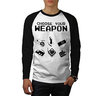 Weapon Gamer Nerd Gaming Men White (Black Sleeves) Baseball LS T-shirt | Wellcoda