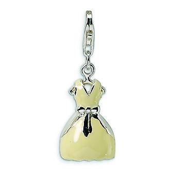 Sterling Silver 3-D Enameled Dress With Lobster Clasp Charm - 2.7 Grams - Measures 30x11mm